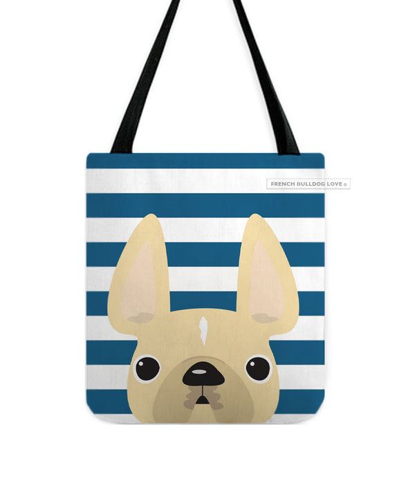 Cream / Navy Striped French Bulldog Tote Bag