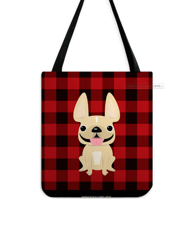 Plaid Tote Bag - Cream French Bulldog Tote Bag