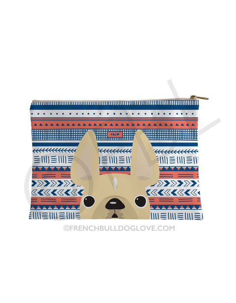 Cream / Geometric French Bulldog Pouch - French Bulldog Love - 1