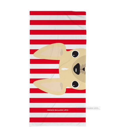 Cream / Red Striped French Bulldog Beach Towel