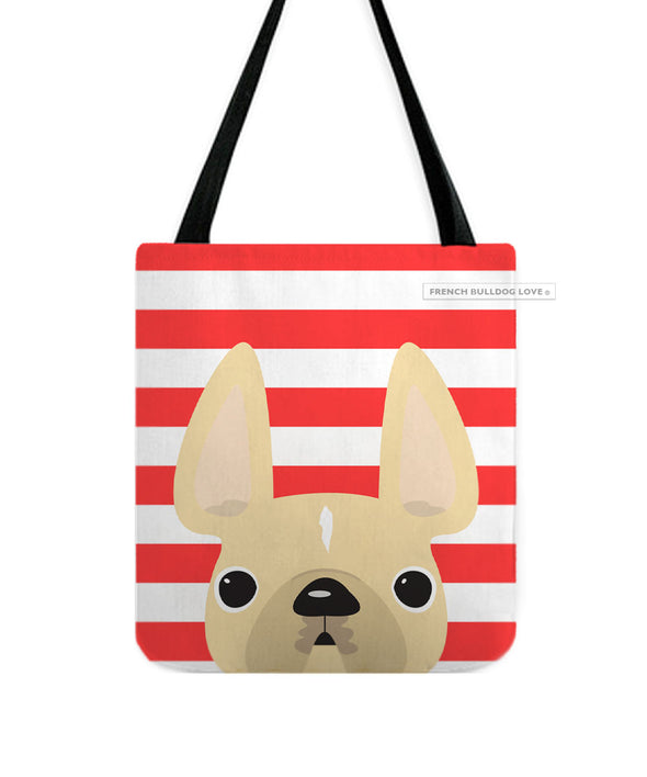 Cream / Red Striped French Bulldog Tote Bag