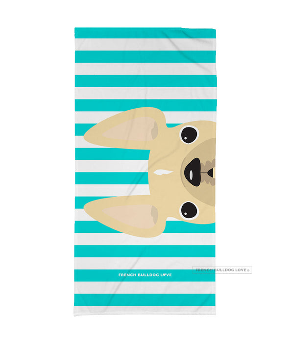 BACKORDERED - Cream / Striped French Bulldog Beach Towel