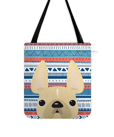 Cream / Geometric French Bulldog Tote Bag