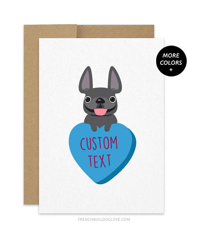 Custom Blue Heart Candy French Bulldog Greeting Card - ADD YOUR OWN TEXT