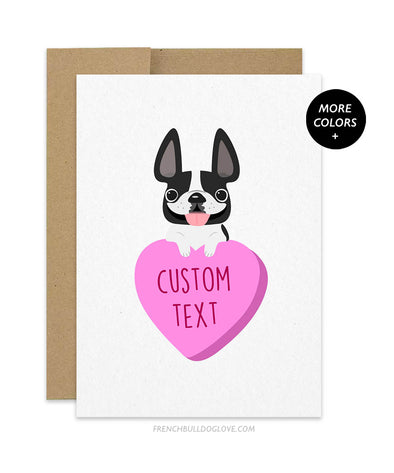 Custom Pink Heart Candy French Bulldog Greeting Card - ADD YOUR OWN TEXT