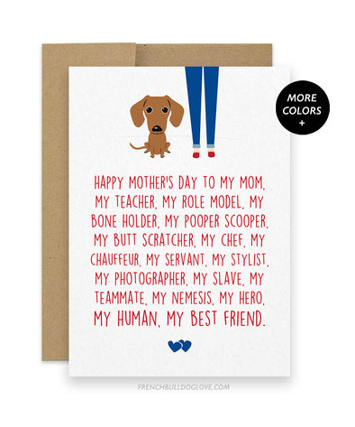Mom Servant - Doxie Mother's Day Card