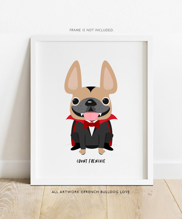 Count Frenchie - French Bulldog Halloween Print 8x10