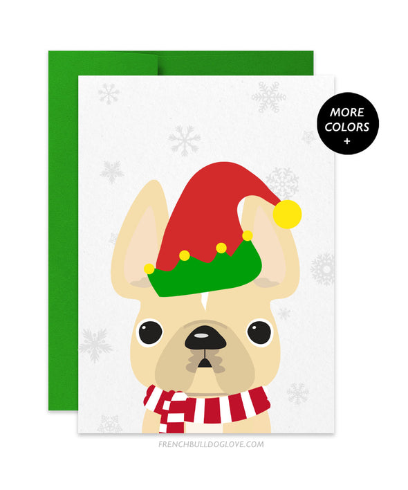 Elf French Bulldog Holiday Card