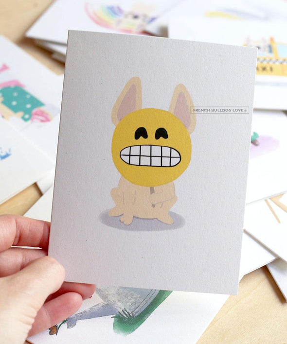 #100DAYPROJECT French Bulldog Note Cards Box Set of 12 - SMILEY
