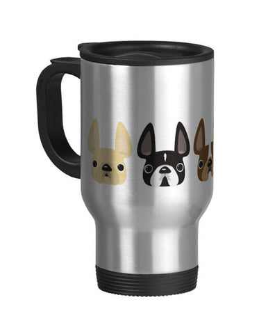 Even Five More Little Frenchies - French Bulldog Travel Coffee Mug - French Bulldog Love - 1