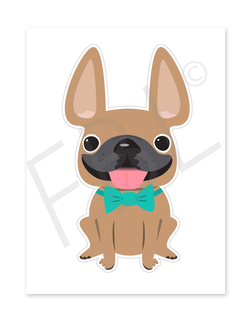 Fawn Boy / Large French Bulldog Sticker - French Bulldog Love
