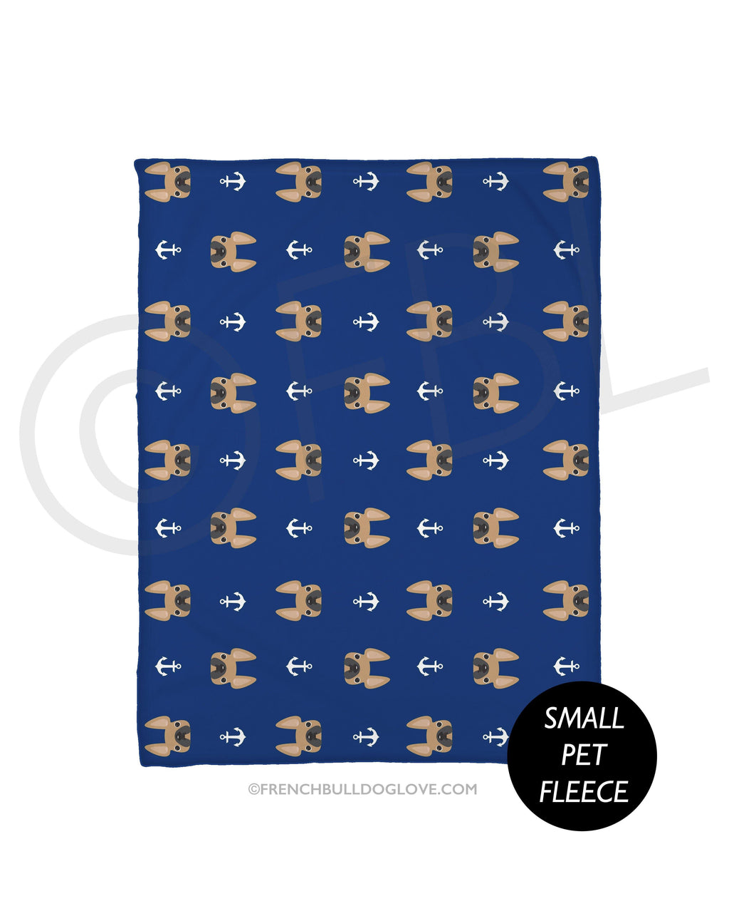 Anchors Fawn French Bulldog Fleece Blanket - Small