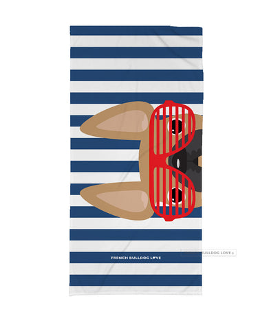Fawn / Red Summer Shades French Bulldog Navy Beach Towel