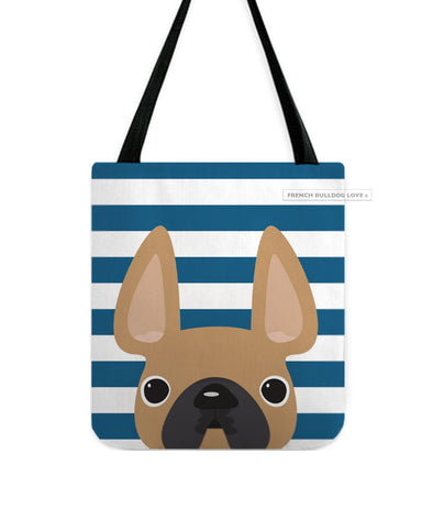 Fawn / Navy Striped French Bulldog Tote Bag