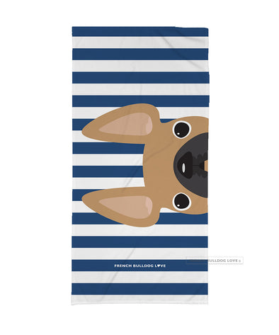 Fawn / Navy Striped French Bulldog Beach Towel