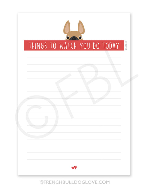 Fawn / Creeping French Bulldog Notepad