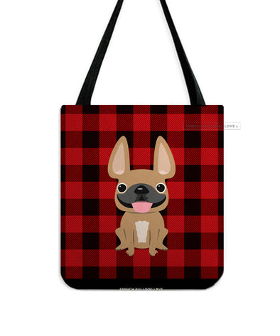 Plaid Tote Bag - Fawn French Bulldog Tote Bag