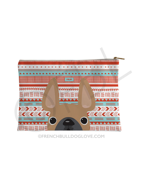 Fawn Summer / Geometric French Bulldog Pouch - French Bulldog Love - 1