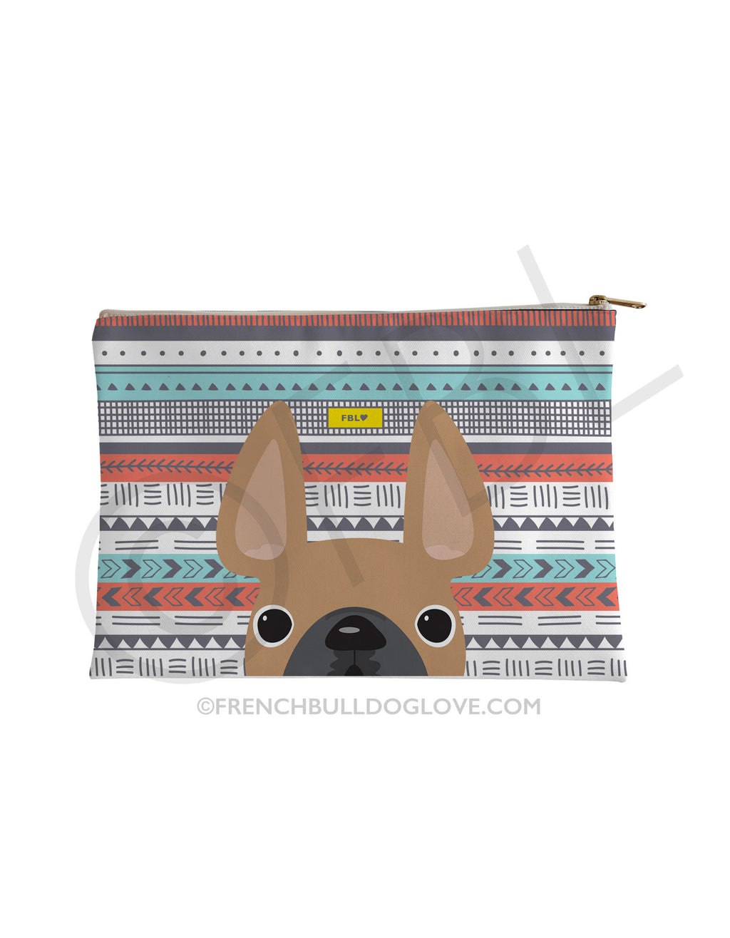 Fawn Autumn / Geometric French Bulldog Pouch - French Bulldog Love - 1