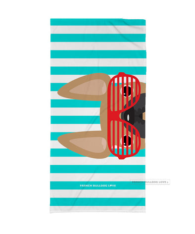 Fawn / Red Summer Shades French Bulldog Beach Towel