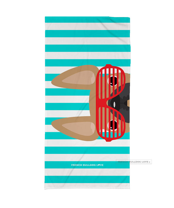 BACKORDERED - Fawn / Red Summer Shades French Bulldog Beach Towel