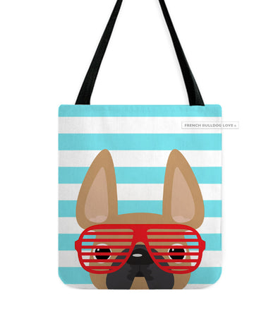 Fawn / Summer Shades French Bulldog on Teal Tote Bag
