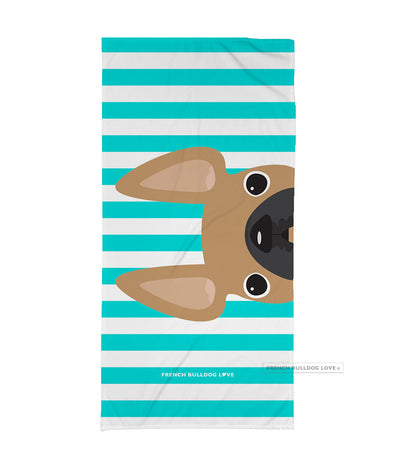 Fawn / Striped French Bulldog Beach Towel