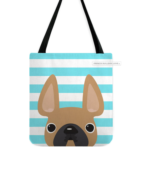 Fawn / Teal Striped French Bulldog Tote Bag
