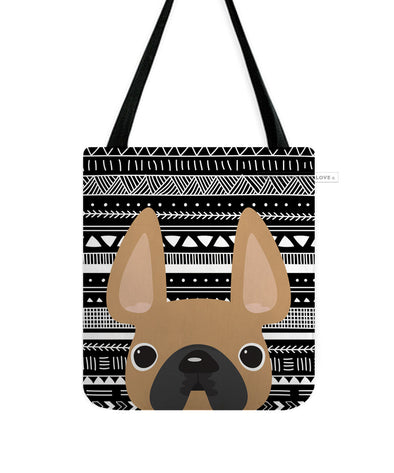 Fawn Mono / Geometric French Bulldog Tote Bag