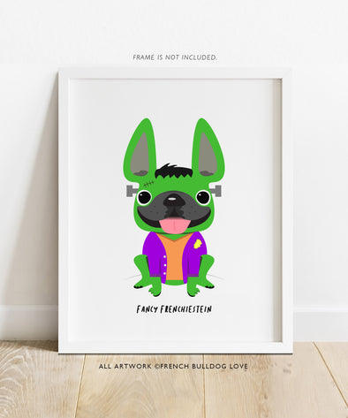 Fancy Frenchiestein - French Bulldog Halloween Print 8x10