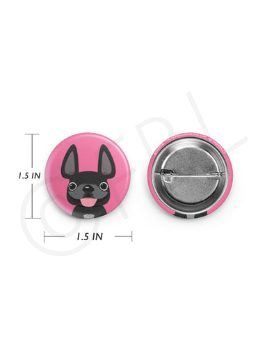Mini French Bulldog Button - 1.5 inch - Black