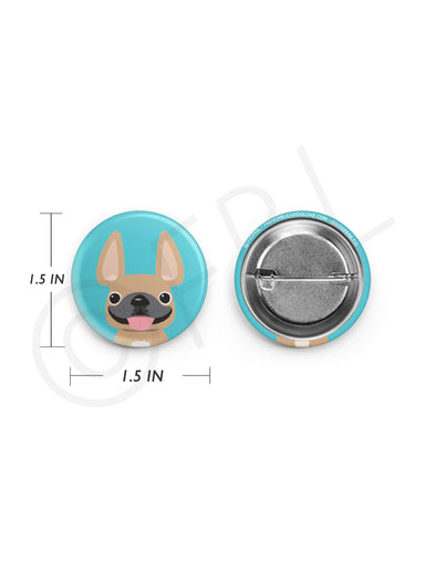 Mini French Bulldog Button - 1.5 inch - Fawn