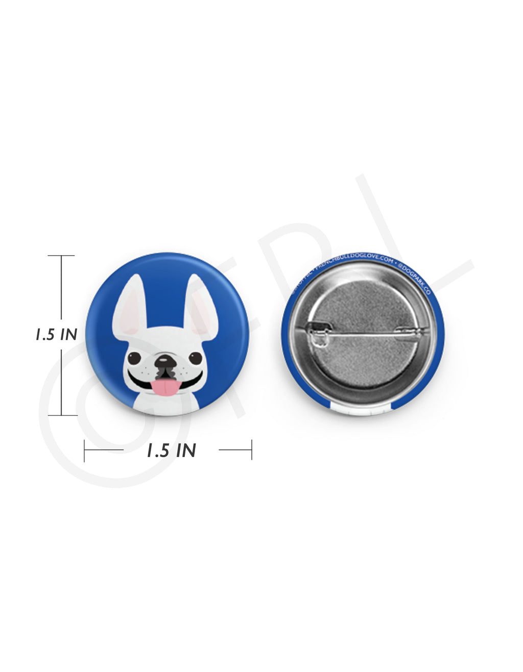 Mini French Bulldog Button - 1.5 inch - White