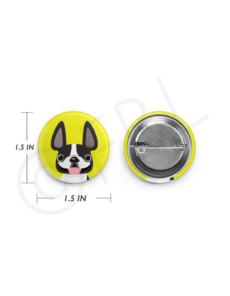 Mini French Bulldog Button - 1.5 inch - Black & White Pied