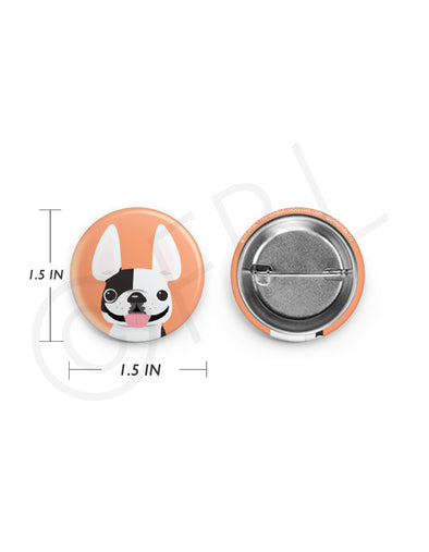 Mini French Bulldog Button - 1.5 inch - White Pied
