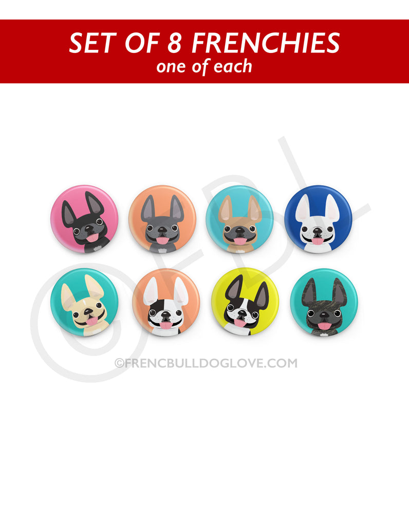 Mini Frenchie Buttons - Variety Pack - 8 Buttons