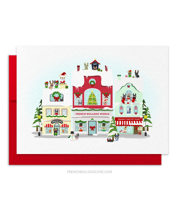 Miracle on Frenchie Street French Bulldog Holiday Christmas Card