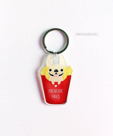 Frenchie Fries Keychain - Clear Acrylic