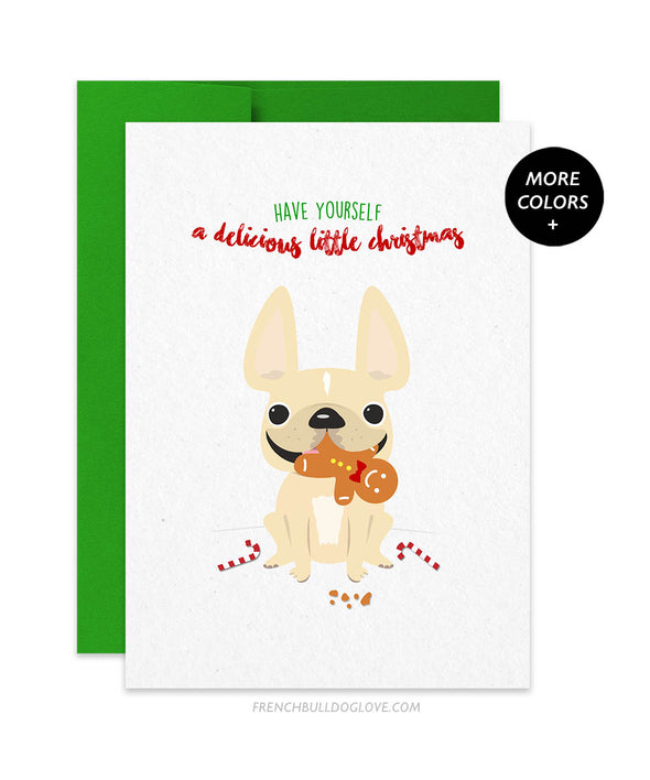 Delicious Xmas French Bulldog Holiday Christmas Card