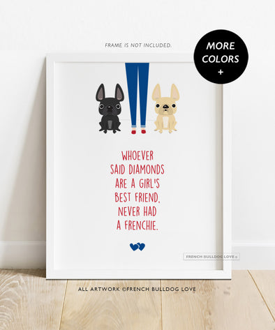 Girl's Best Friend TWO FRENCHIES - French Bulldog Custom Print 8x10