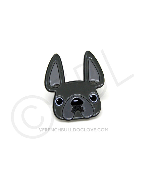 French Bulldog Enamel Pin - Grey Frenchie