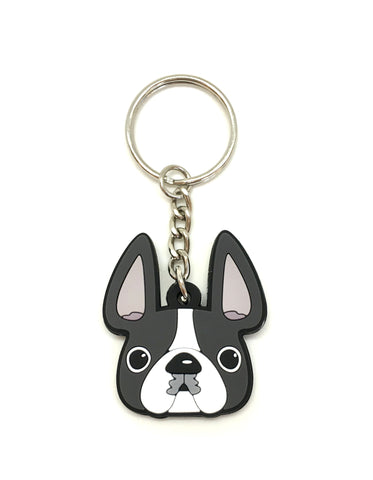 Frenchie Face Mini Keychain / Grey Pied - French Bulldog Love - 1
