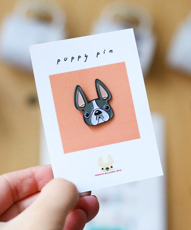 French Bulldog Enamel Pin - Grey Pied Frenchie