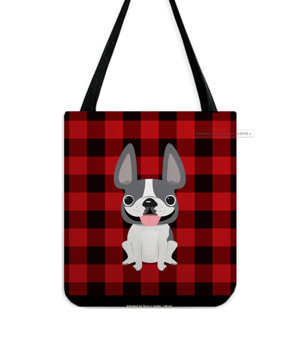 Plaid Tote Bag - Grey Pied French Bulldog Tote Bag