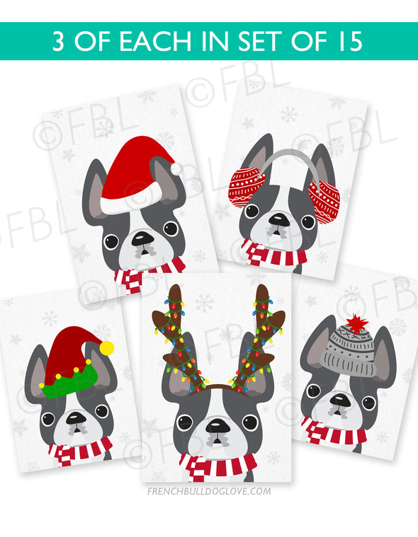 Festive Frenchies 15 Card Holiday Box Set - French Bulldog Love - 12