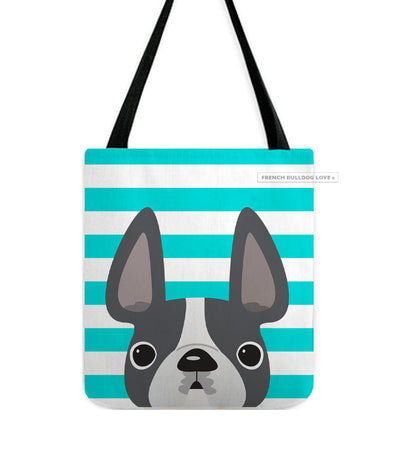 Grey Pied / Teal Striped French Bulldog Tote Bag