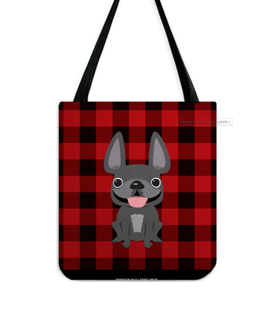 Plaid Tote Bag - Grey French Bulldog Tote Bag