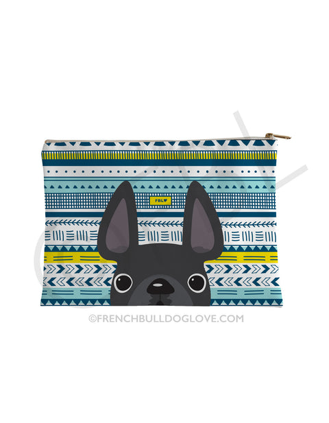 Grey / Geometric French Bulldog Pouch - French Bulldog Love - 1