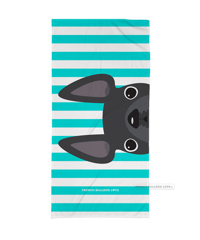Grey / Striped French Bulldog Beach Towel