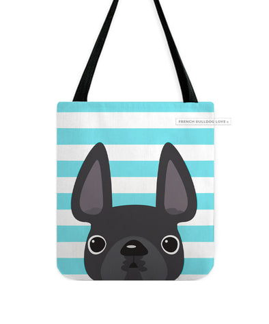 Grey / Striped French Bulldog Tote Bag